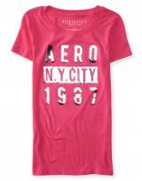 Dámské triko Aero Shimmer Block Graphic T Shirt - Růžová