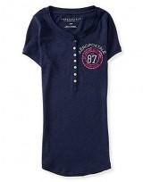 Dámské triko Emblem Graphic Ribbed Henley - Modrá