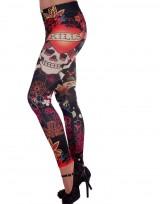 Dámské dlouhé legíny barevné - Skull