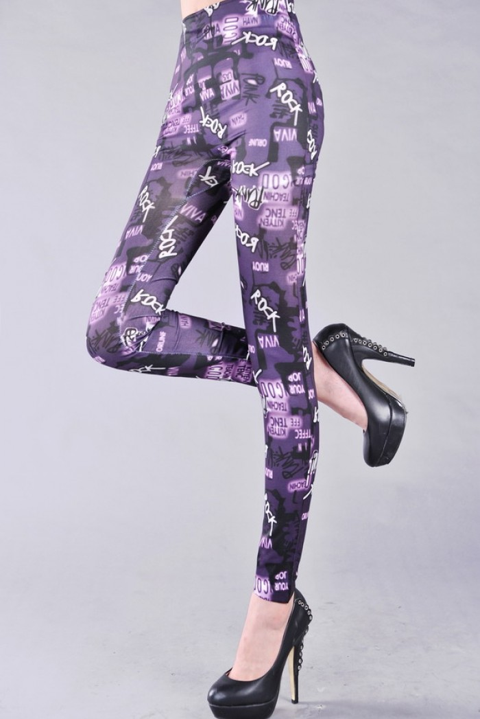 Dámské dlouhé legíny barevné - Purple Rock
