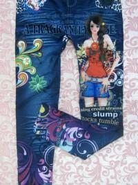 Dámské dlouhé legíny jeans - Looking Girl - Modrá