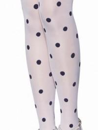 Samodržící punčochy s puntíky - Bílá