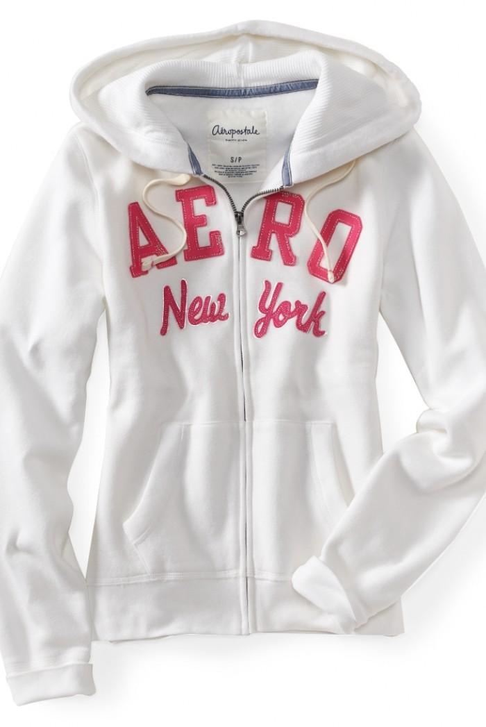 Dámská mikina Aero New York na zip - Bílá c8bdaa42ae7