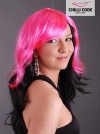 Párty paruka Pink Star - Růžová/ Černá
