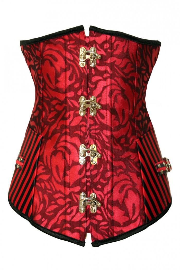 Sexy korzet pod prsa Brocade Strip - Červená