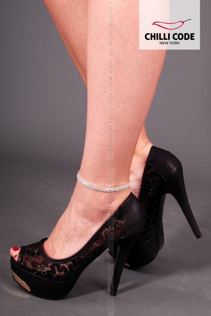 Štrasový řetízek na nohu - Double Row