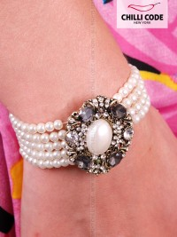 Perličkový náramek s broží - Retro Pearl