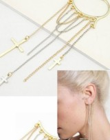 Sexy náušnice za ucho - Cross Chain