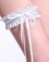 Sexy krajkový podvazek, svatební  - Bílá