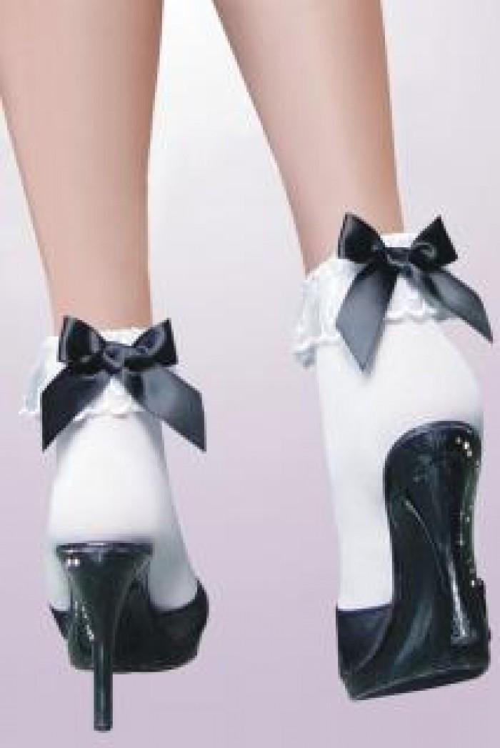 Bílé silonové ponožky s volánky a mašličkou - Černá