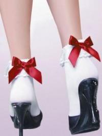 Bílé silonové ponožky s volánky a mašličkou - Červená
