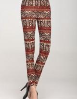 Dámské pletené dlouhé legíny  - Red