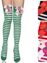 Pruhované nadkolenky s jahůdkou - Striped Strawberry - Zelená