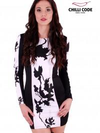 Sexy šaty Symmetrical Flower  - Černá/Bílá