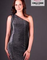 Mini šaty na jedno rameno - Stříbrná