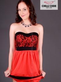 Sexy šaty, koktejlky s krajkou Apricot - Oranžová