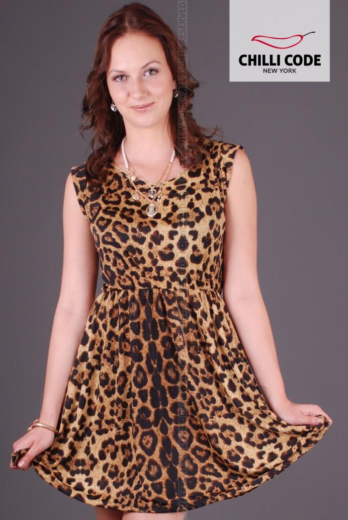 Sexy empírové šaty Leopard - Hnědá