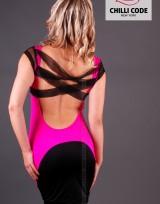 Sexy šaty Hot Pink Cross - Černá/Růžová