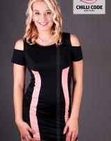Pouzdrové šaty se zeštíhlovací vsadkou - Černá