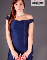 Sexy bandážové šaty Boat Neck - Modrá