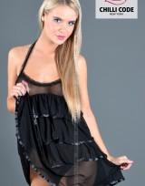 Noční košilka Jessica Ruffle - Černá