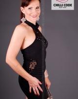 Sexy šaty s krajkovou vsadkou - Černá