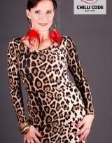 Pouzdrové mini šaty s dlouhým rukávem  - Leopard