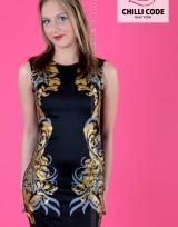Sexy pouzdrové mini šaty Golden - Černá