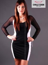 Pouzdrové pružné šaty s dlouhým rukávem  - Černá/Bílá