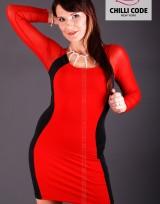 Pouzdrové pružné šaty s dlouhým rukávem  - Černá/Červená