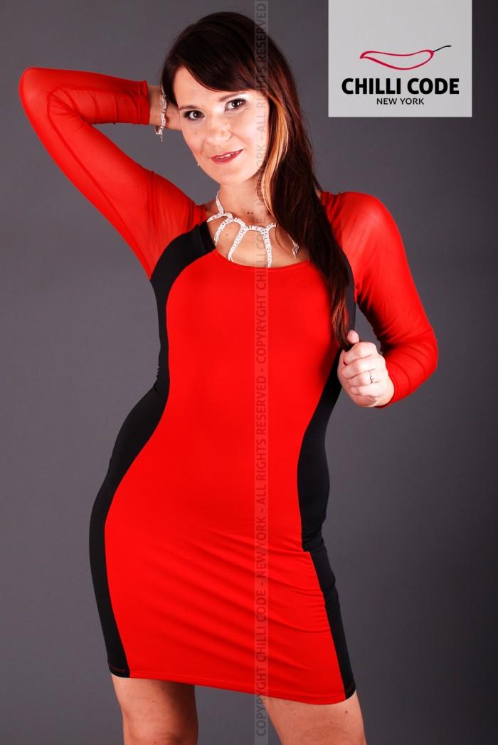 Pouzdrové pružné šaty s dlouhým rukávem - Černá Červená bc8ee59d33f