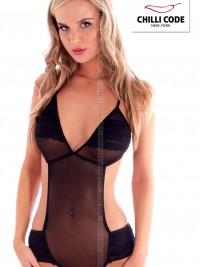 Dámské sexy body s krajkovým volánkem - Černá