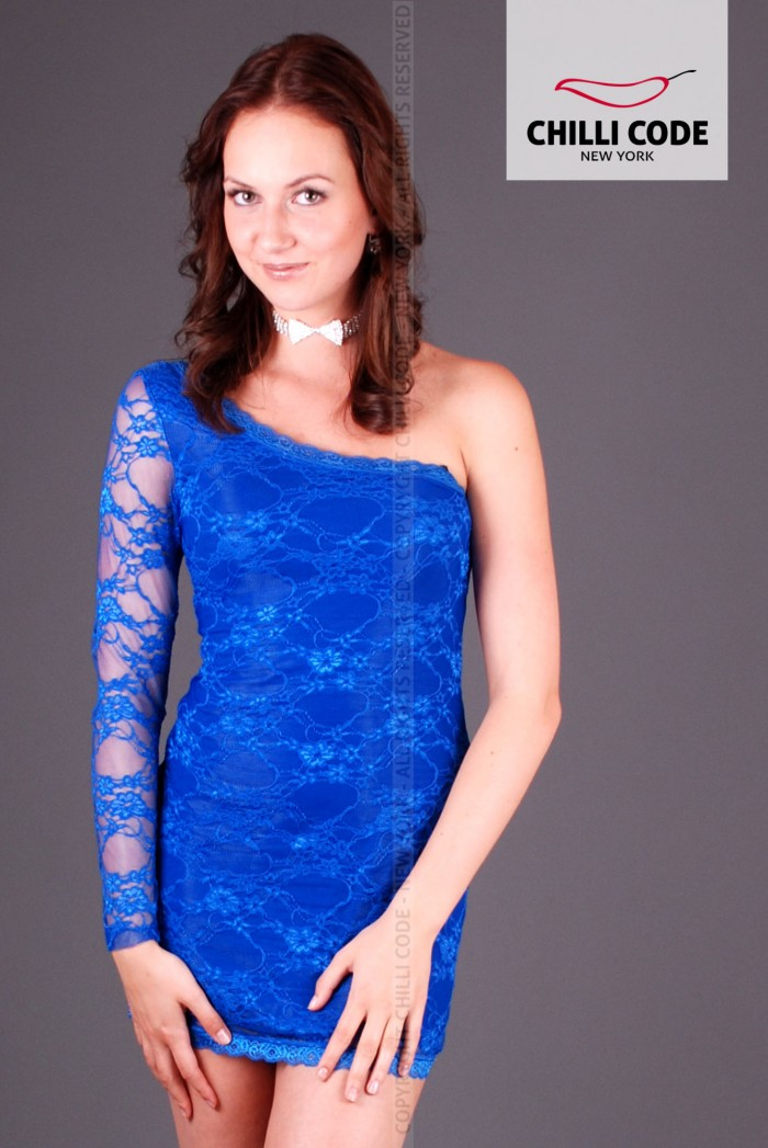 Krajkové šaty Mini dress - Modrá