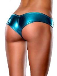 Bokové metalické kalhotky - Tyrkysová