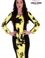Sexy šaty Stripe Flower  - Černá/Žlutá