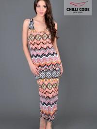 Letní maxi šaty Between Lines - Oranžová