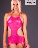 Dámská sexy podvazková košilka Spiral - Růžová