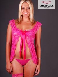 Dámská noční košilka s podvazkem - Růžová