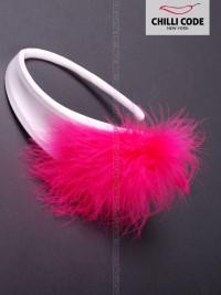 Dámská C string tanga - Pink Feather - Bílá