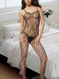 Sexy celotělové punčochy Bodystockings Fishnet - Černá