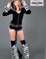 Sexy Go Go kostým Tygřice Laura - Černá/Bílá