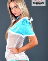 Sexy kostým Roztleskávačka Sporty Girl - Bílá/Modrá