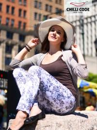 Dámské květované lesklé kalhoty Chilli Grey