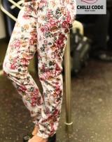 Dámské květované lesklé kalhoty Chilli Red