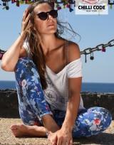 Dámské květované kalhoty Chilli Bright Blue