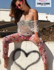 Dámské květované kalhoty Chilli Hibiscus