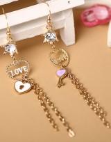 Závěsné náušnice se srdíčkem Love Key - Zlatá