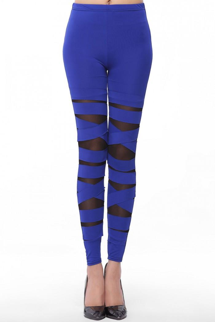 Dámské dlouhé legíny - Blue Stretch - Modrá