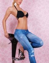 Dámské dlouhé legíny jeans - Studs Blue