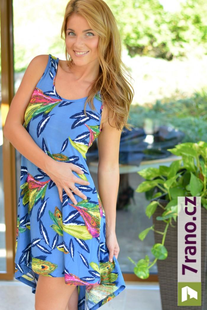 5a9db2256b3 Dámské letní šaty barevné - Pírka modrá